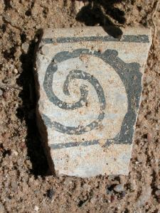 pottery sherd found near Chaco Canyon, NM